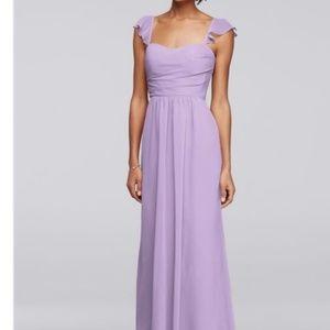 Davids Bridal Long Dress Flutter Cap Biscotti